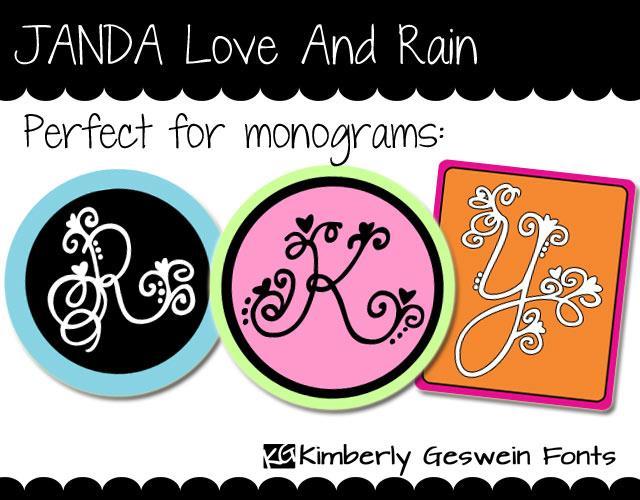 JANDA Love And Rain font by Kimberly Geswein