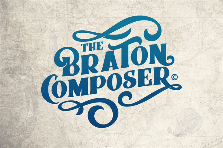 Braton Composer Stamp Rough font by Alit Design