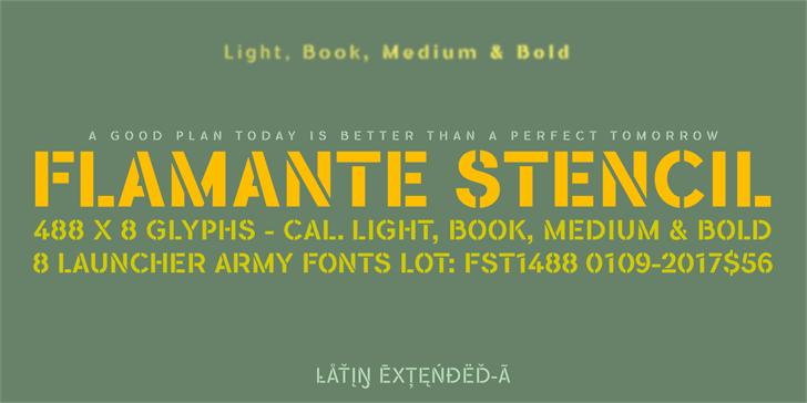 Flamante Stencil Bold font by deFharo