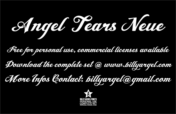 Angel Tears Neue Personal Us font by Billy Argel