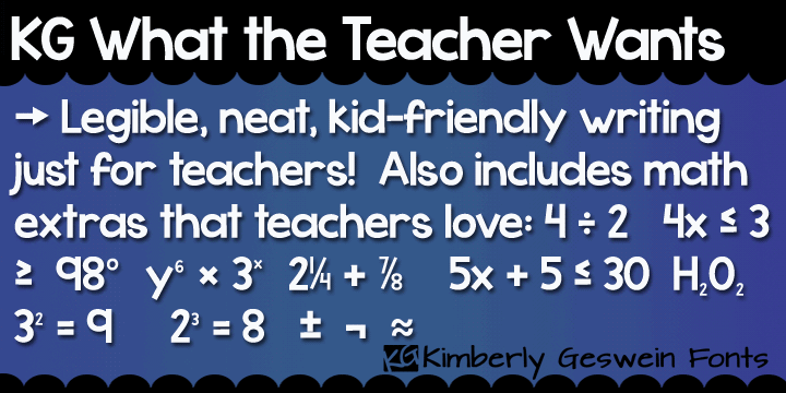 KG What the Teacher Wants font by Kimberly Geswein
