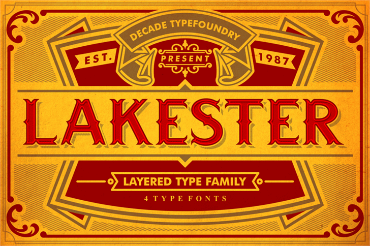 LAKESTERINLINELAYER3DEMO font by decadetypefoundry