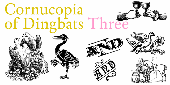 Cornucopia of Dingbats Three font by Intellecta Design