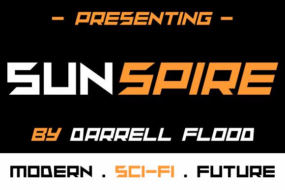 sunspire font by Darrell Flood