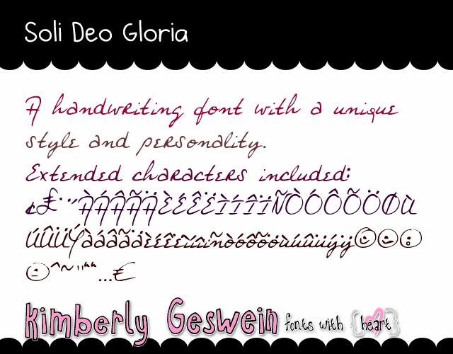 Soli Deo Gloria font by Kimberly Geswein