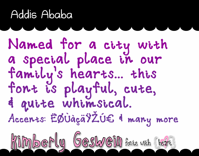 Addis Ababa font by Kimberly Geswein