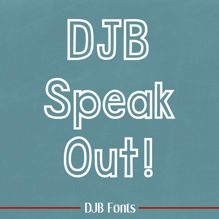 DJB Speak Out font by Darcy Baldwin Fonts