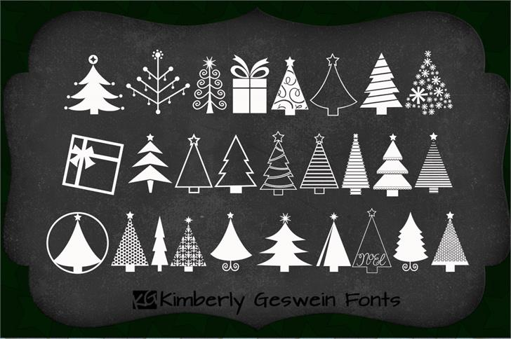 KGChristmasTrees font by Kimberly Geswein