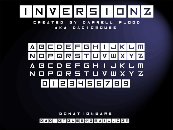 Inversionz font by Darrell Flood
