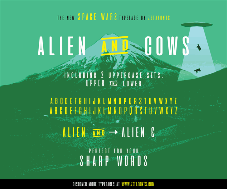 aliens and cows font by Zetafonts