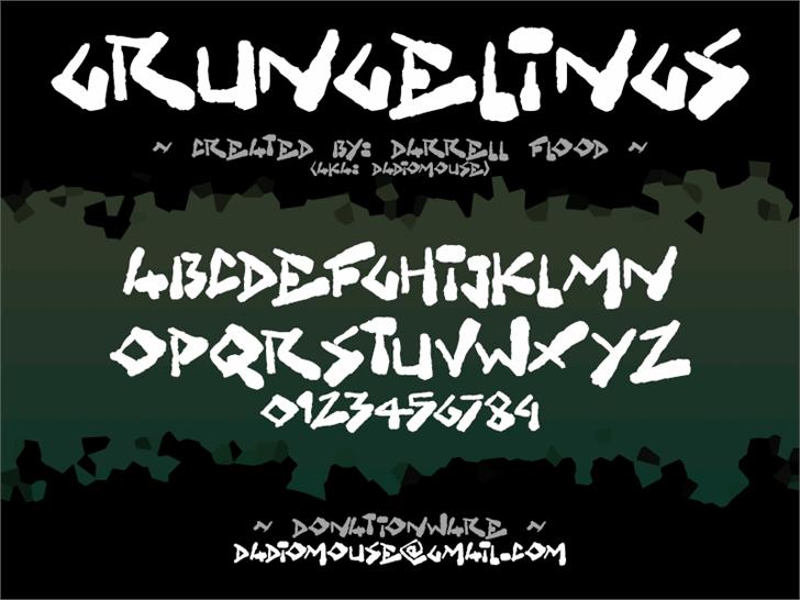 Grungelings font by Darrell Flood