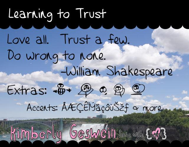 Learning to Trust font by Kimberly Geswein