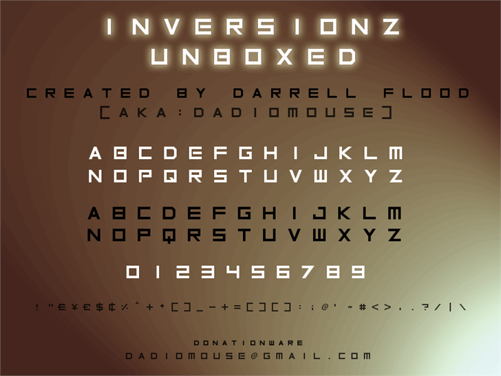Inversionz Unboxed font by Darrell Flood