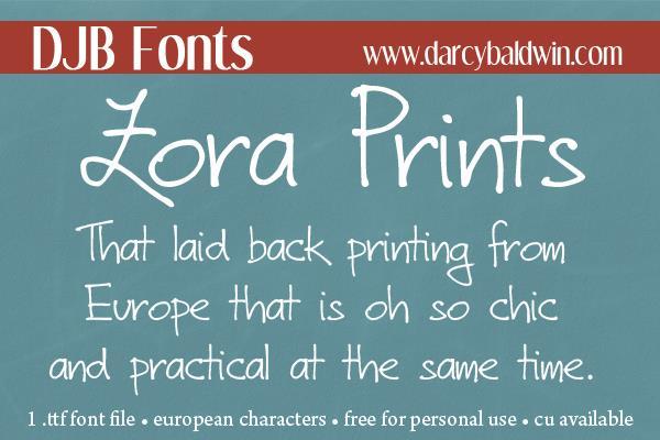 DJB Zora Prints font by Darcy Baldwin Fonts