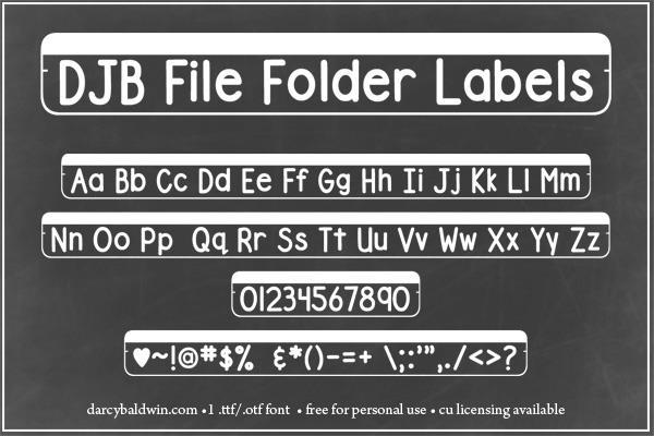 DJB File Folder Labels font by Darcy Baldwin Fonts