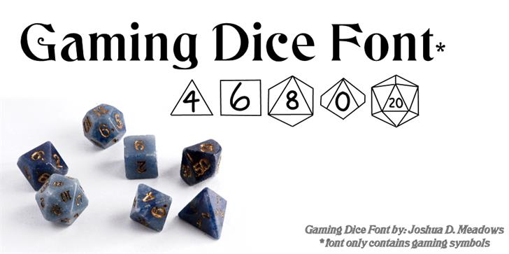 GamingDice font by JoshuaMeadows