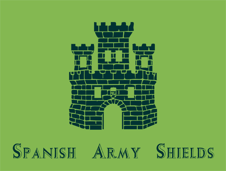 Spanish Army Shields font by Intellecta Design