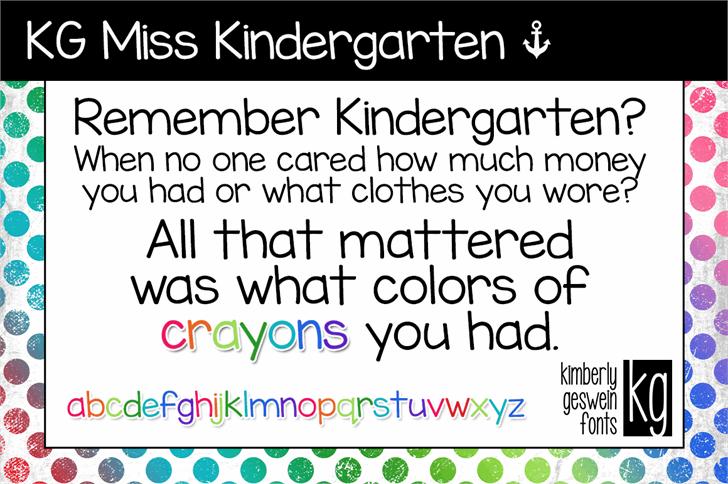 KG Miss Kindergarten font by Kimberly Geswein