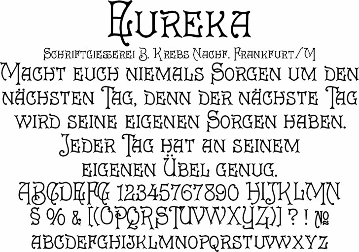 Eureka font by Peter Wiegel