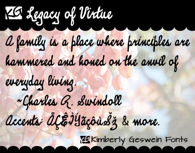 KG Legacy of Virtue font by Kimberly Geswein