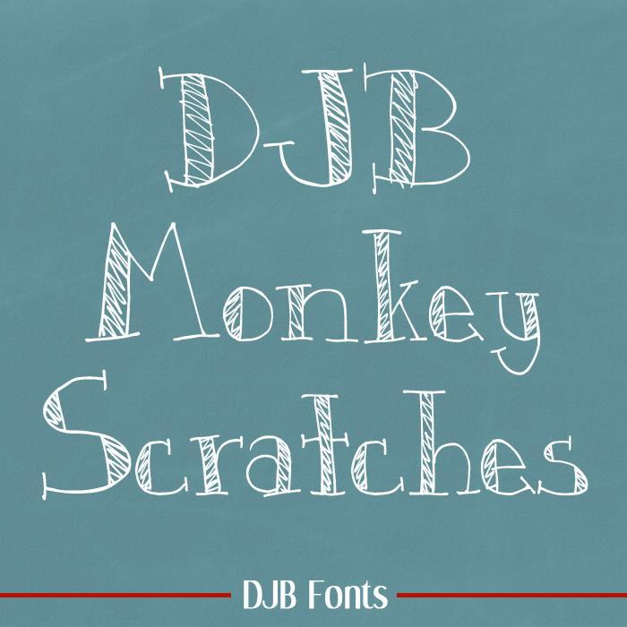 DJB Monkey Scratches font by Darcy Baldwin Fonts