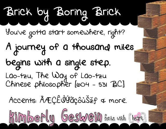 Brick by Boring Brick font by Kimberly Geswein