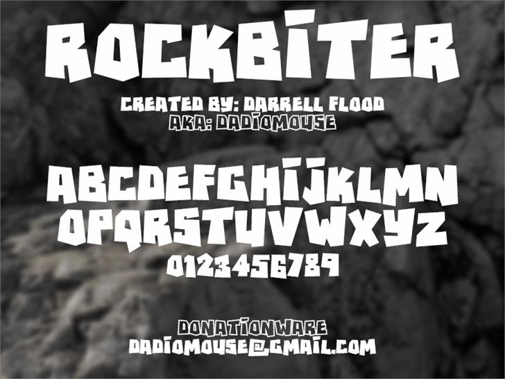 RockBiter font by Darrell Flood