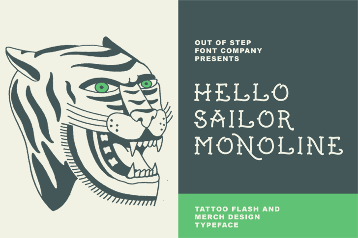 Hello Sailor Monoline Demo font by Out Of Step Font Company