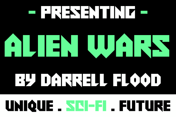 Alien Wars font by Darrell Flood
