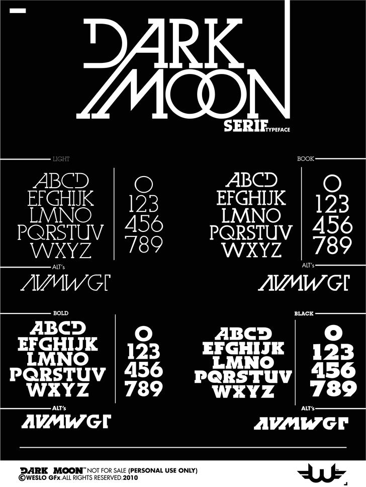 Dark Moon Serif font by weslo