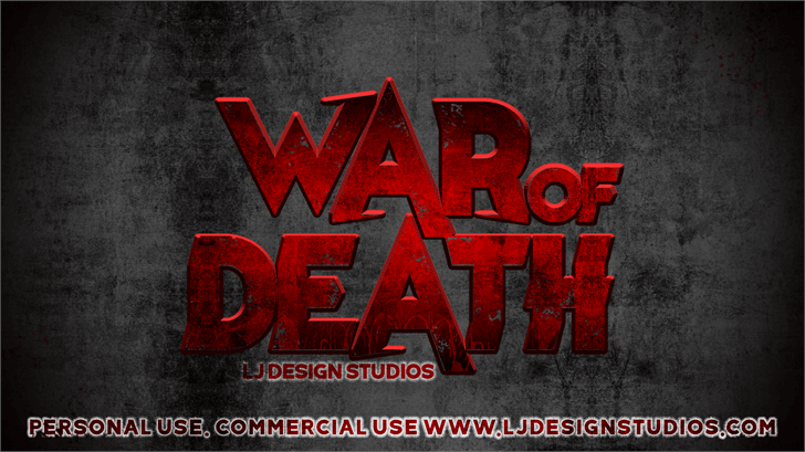 War of Death font by LJ Design Studios