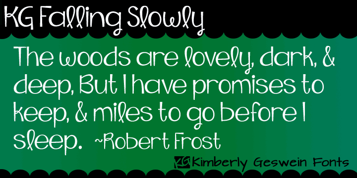KG Falling Slowly font by Kimberly Geswein
