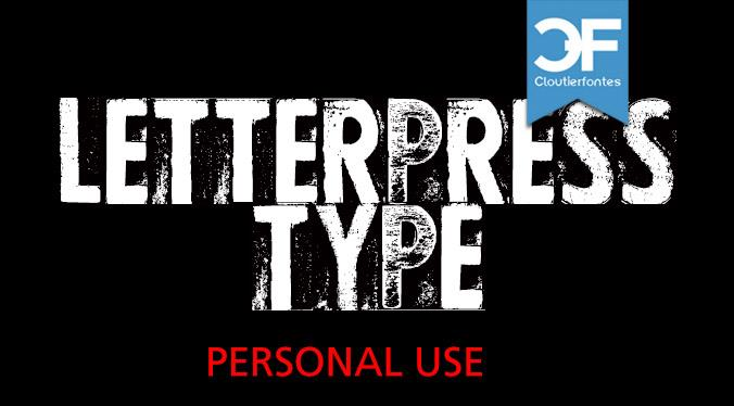 CF Letterpress Type PERSONAL font by CloutierFontes