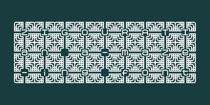 Zigourati font by Pixel Kitchen