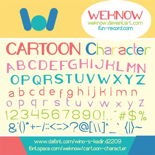 Cartoon Character font by weknow
