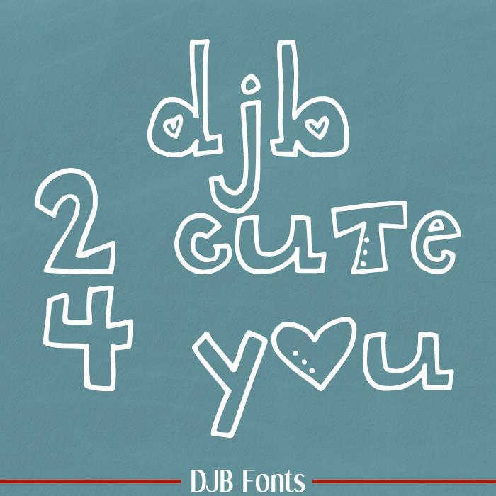 DJB 2CUTE4U font by Darcy Baldwin Fonts