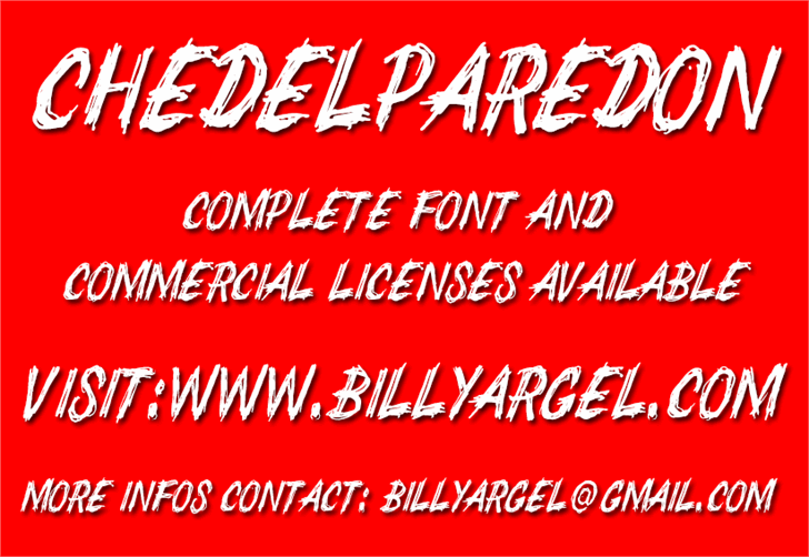 CHEDELPAREDON PERSONAL USE font by Billy Argel