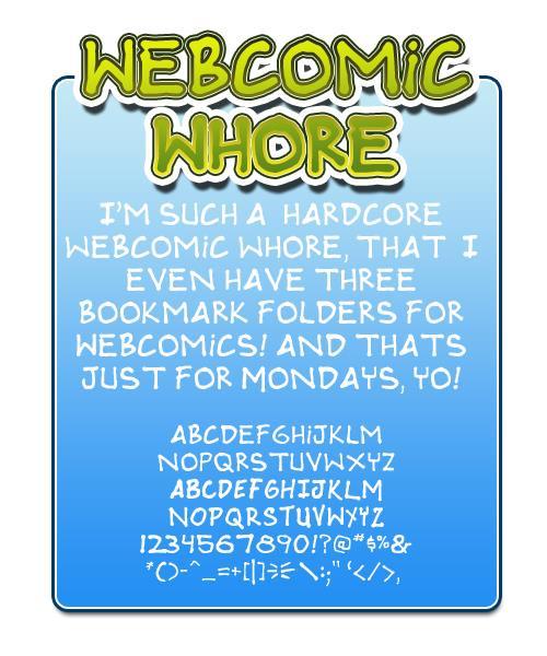 Webcomic whore font by Press Gang Studios