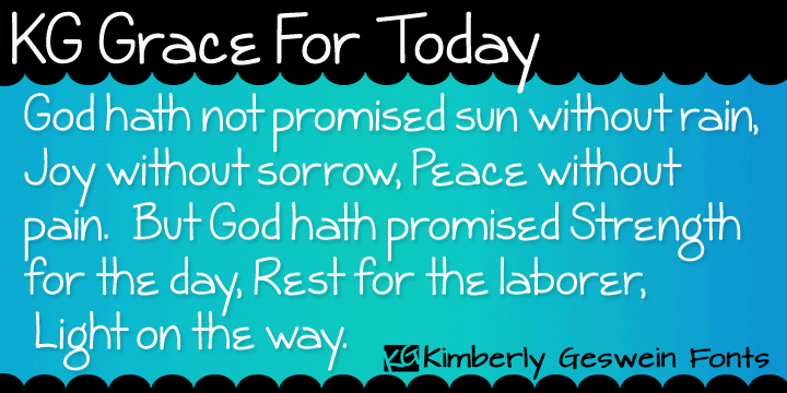 KG Grace For Today font by Kimberly Geswein