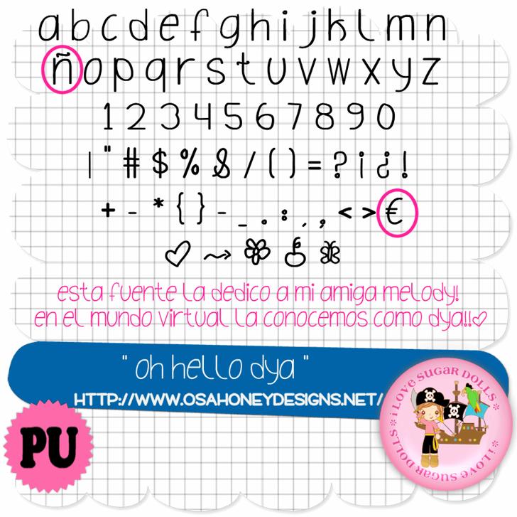 Oh_Hello_Dya font by VMF@VickieMartinez