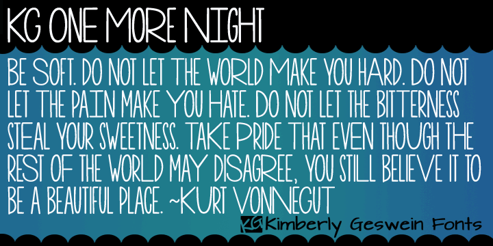 KG One More Night font by Kimberly Geswein