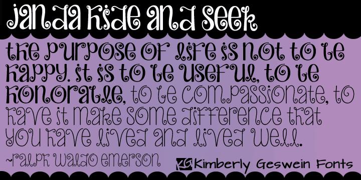Janda Hide And Seek font by Kimberly Geswein