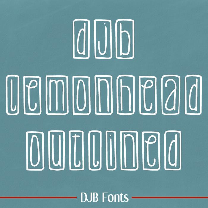 DJB Lemon Head Outlined font by Darcy Baldwin Fonts