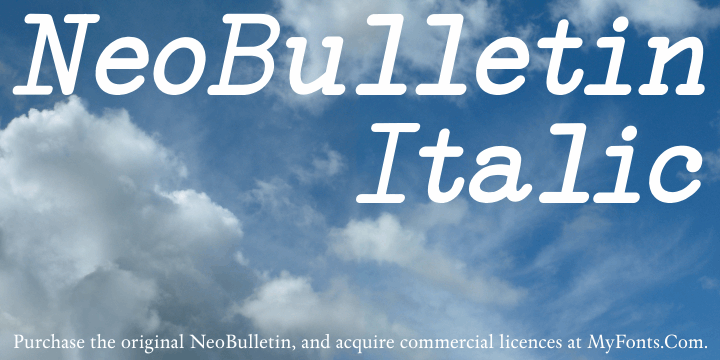 NeoBulletin Italic font by Intellecta Design