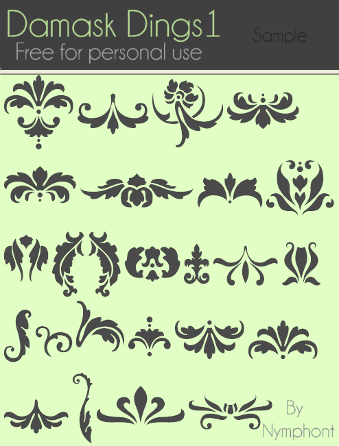 Damask Dings1 font by Nymphont