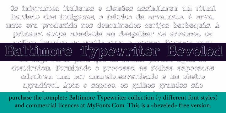 BaltimoreTypewriterBold Beveled font by Intellecta Design