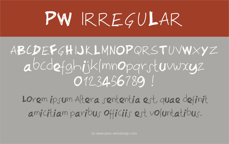 PWIrregular font by Peax Webdesign