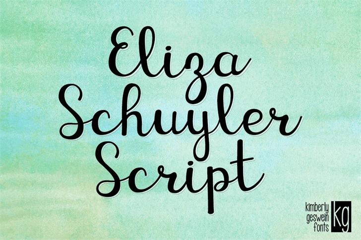 KG Eliza Schuyler Script font by Kimberly Geswein