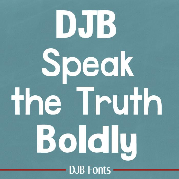 DJB Speak the Truth font by Darcy Baldwin Fonts