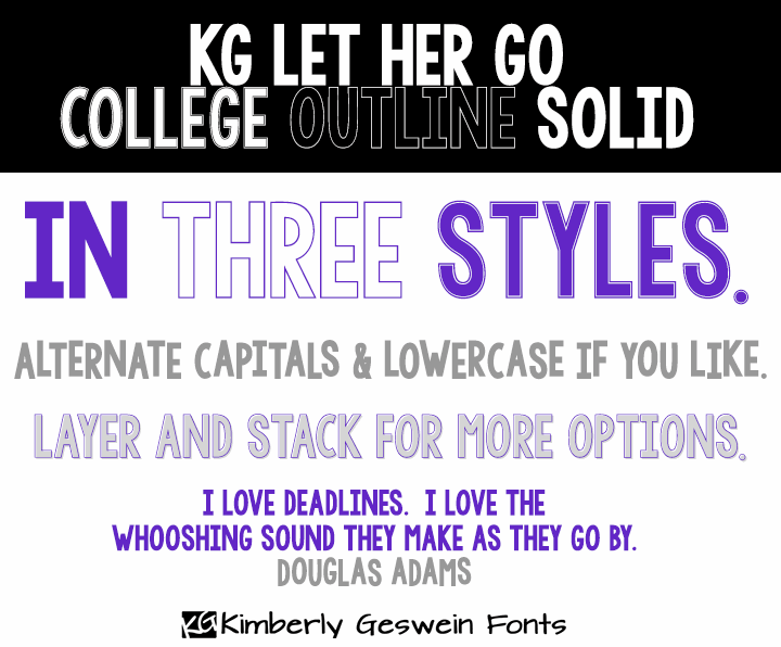 KG LET HER GO font by Kimberly Geswein